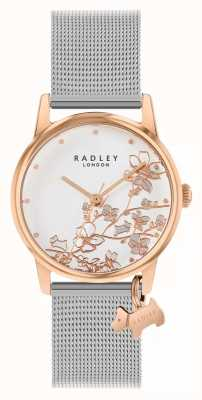 Radley Botánica floral | pulsera de malla de plata | esfera floral blanca RY4399