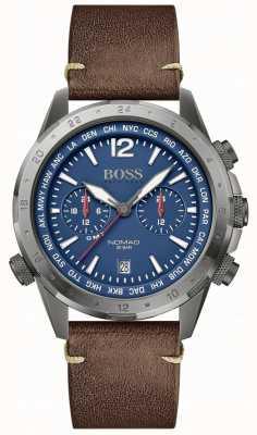 Boss El | nómada de los hombres | correa de cuero marrón | esfera azul | 1513773