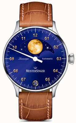 MeisterSinger Lunascopio | esfera azul | correa de cuero marrón LS908G