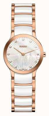 Rado Centrix diamantes de cerámica blanca y oro rosa R30186912