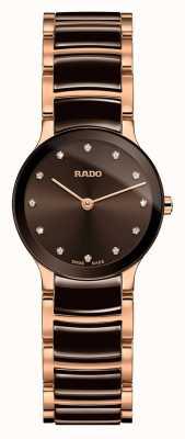 Rado Centrix diamantes de cerámica blanca y oro rosa R30190702