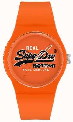 Superdry Original urbano | correa de silicona naranja | esfera naranja estampada | SYG280OB
