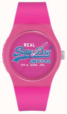 Superdry Original urbano | correa de silicona rosa | esfera estampada rosa | SYL280PU
