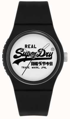 Superdry Original urbano   correa de silicona negra   esfera con estampado blanco   SYG280BW