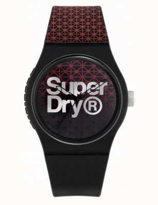 Superdry Geo deporte urbano   correa de silicona negra / roja   esfera negra / roja SYG268R