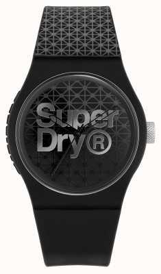 Superdry Geo deporte urbano | correa de silicona negra / gris | esfera negra / gris SYG268B