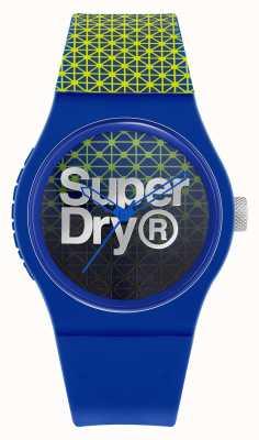 Superdry Geo deporte urbano   correa de silicona azul / verde   esfera azul / verde SYG268UN