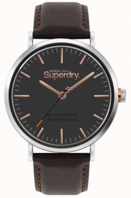 Superdry Oxford | correa de cuero marrón | esfera marrón | SYG287BR