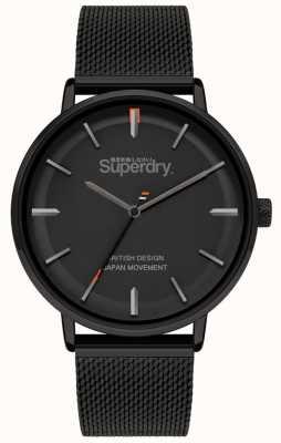 Superdry Ascot xl | pulsera de malla negra | esfera negra | SYG284BM