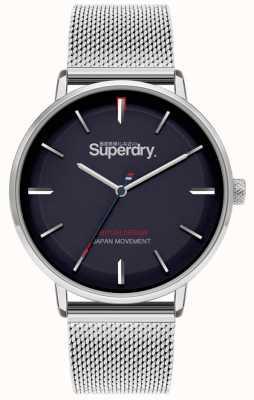 Superdry Ascot xl   pulsera de malla de plata   esfera azul   SYG284SM