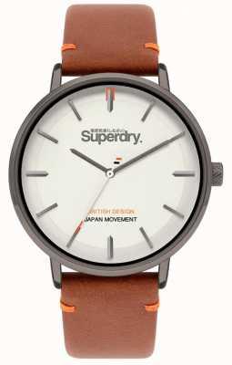 Superdry Ascot xl | correa de cuero marrón | esfera gris | SYG283T