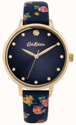 Cath Kidston El | correa de cuero floral azul marino para mujer | esfera azul marino | CKL089U