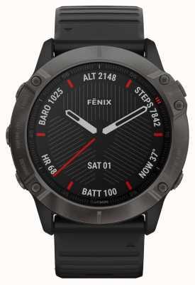Garmin Fenix 6x pro zafiro | gris carbón dlc | correa de caucho negro 010-02157-11