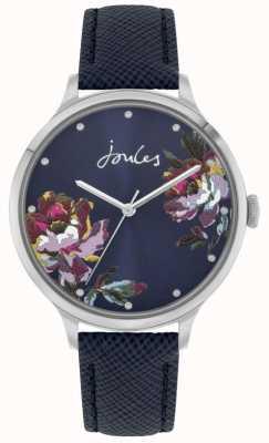 Joules Payton para mujeres | correa de cuero azul | esfera floral azul | JSL021U