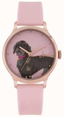 Joules Correa de silicona rosa para mujer | esfera con impresión de perro salchicha | JSL010PRG