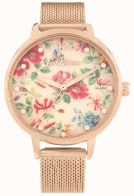 Cath Kidston Rosa Pembroke | pulsera de malla de oro rosa | esfera floral | CKL085RGM