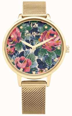 Cath Kidston Rosa Pembroke | pulsera de malla de oro | esfera floral | CKL085GM