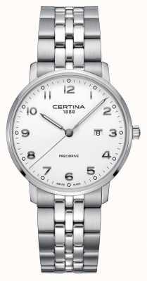 Certina El | ds caimano | pulsera de plata de acero inoxidable | esfera blanca C0354101101200