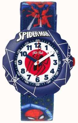 Flik Flak El | hombre araña en acción | correa estampada tela azul | FLSP012