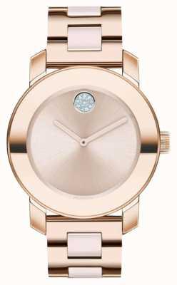 Movado Negrita | pulsera chapada en oro rosa | esfera de oro rosa | 3600639