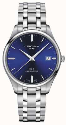 Certina Ds-8 cronómetro | pulsera de acero inoxidable | esfera azul | C0334511104100