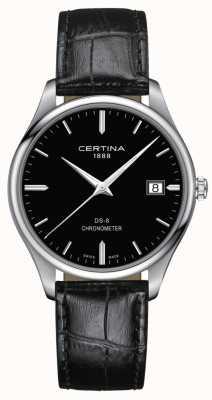 Certina Ds-8 cronómetro | correa de cuero negro | esfera negra | C0334511605100