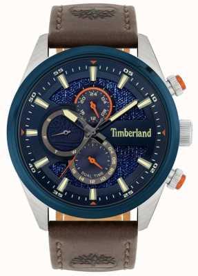 Timberland El | cresta masculina | correa de cuero marrón | esfera azul marino | 15953JSTBL/03