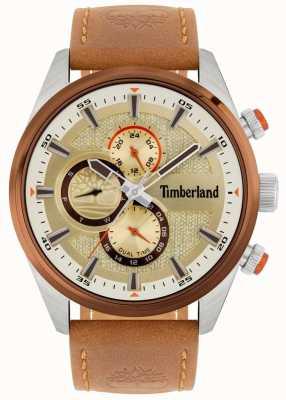 Timberland El | cresta masculina | correa de cuero marrón | esfera mineral | 15953JSTBN/04