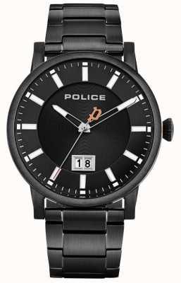 Police El | collin para hombres | pulsera de acero inoxidable negro | esfera negra 15404JSB/02M