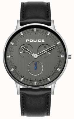 Police El | berkeley para hombre | correa de cuero negro | esfera gris | 15968JS/39