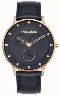 Police El | berkeley para hombre | cuero azul oscuro | esfera azul 15968JSR/03