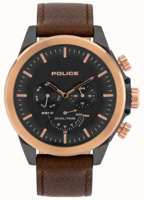 Police El | belmont para hombres | correa de cuero marrón | esfera negra | 15970JSUR/02