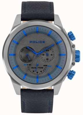 Police El | belmont para hombres | correa de cuero azul | esfera azul / gris | 15970JSU/61