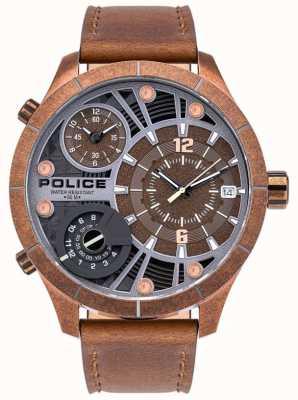 Police El | bushmaster masculino | correa de cuero marrón | esfera marrón | 15662XSQR/12