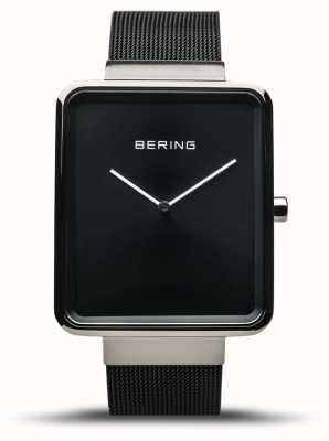 Bering El | clásico de los hombres | pulsera de malla negra | esfera negra | 14533-102