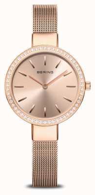 Bering | clásico de las mujeres | malla de oro rosa | bisel de cristal 16831-366