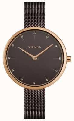 Obaku El | notat mujer nogal | pulsera de malla marrón | esfera marrón | V233LXVNMN