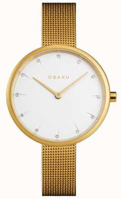 Obaku El | notat gold de mujer | pulsera de malla de oro | esfera blanca | V223LXGIMG