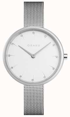 Obaku El | acero notat para mujer | pulsera de malla de plata | esfera blanca | V233LXCIMC