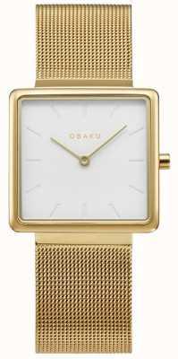 Obaku El | oro kvadrat para mujer | pulsera de malla de oro | esfera blanca | V236LXGIMG
