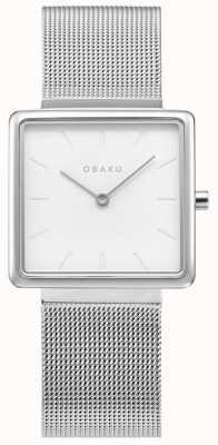 Obaku El | acero kvadrat para mujer | pulsera de malla de plata | esfera blanca V236LXCIMC