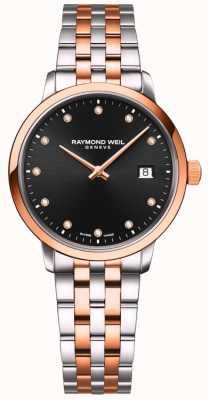 Raymond Weil El | toccata de mujer | pulsera de dos tonos | conjunto de diamantes negros 5985-SP5-20081