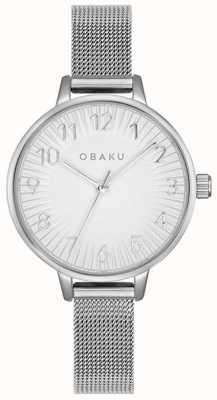 Obaku El | acero syren para mujer | pulsera de malla de plata | esfera plateada | V237LXCIMC
