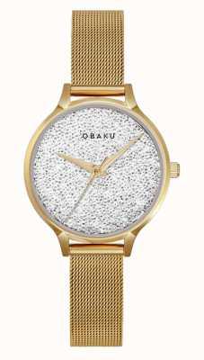 Obaku El | st jerner gold para mujer | pulsera de malla de oro | esfera de cristal V238LXGWMG