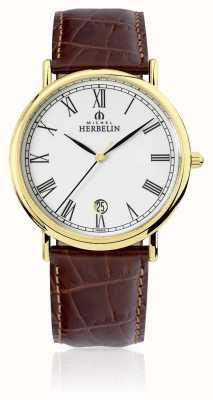 Michel Herbelin Clásico para hombre | correa de cuero marrón 12248/P01MA