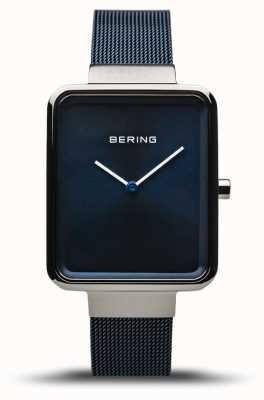 Bering Clásico | plata pulida / cepillada | correa de malla azul | 14528-307