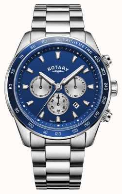 Rotary El | henley para hombre | esfera cronógrafo azul | acero inoxidable | GB05109/05