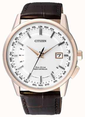 Citizen Radio controlado a perpetuo | correa marrón | esfera blanca CB0153-21A