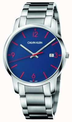 Calvin Klein Ciudad de los hombres | pulsera de acero inoxidable | esfera azul K2G2G147