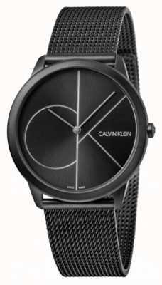 Calvin Klein El | mínimo | pulsera de malla de acero negro | esfera negra K3M5145X